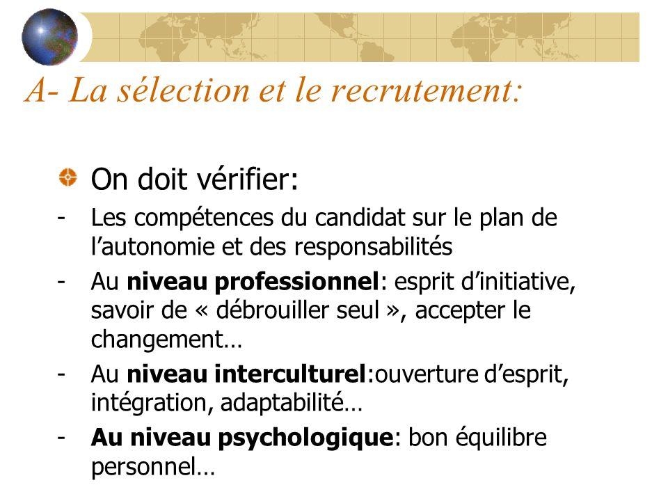A- La sélection et le recrutement: On doit vérifier: -Les compétences du candidat sur le plan de lautonomie et des responsabilités -Au niveau professi