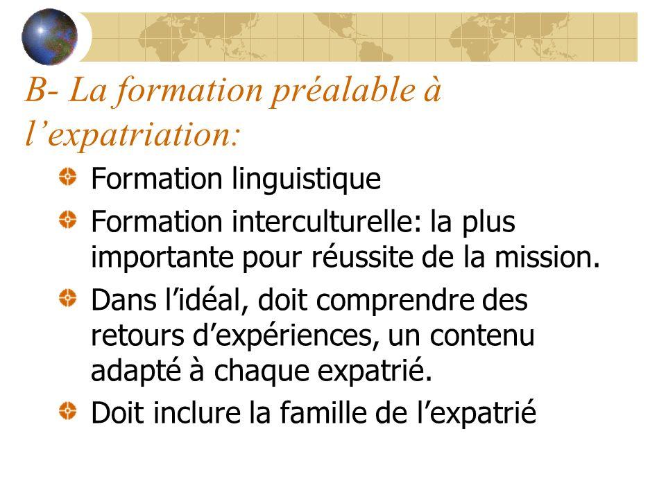 B- La formation préalable à lexpatriation: Formation linguistique Formation interculturelle: la plus importante pour réussite de la mission. Dans lidé