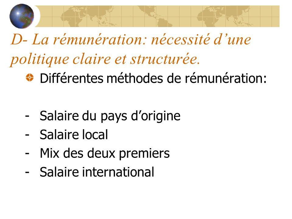 D- La rémunération: nécessité dune politique claire et structurée. Différentes méthodes de rémunération: -Salaire du pays dorigine -Salaire local -Mix