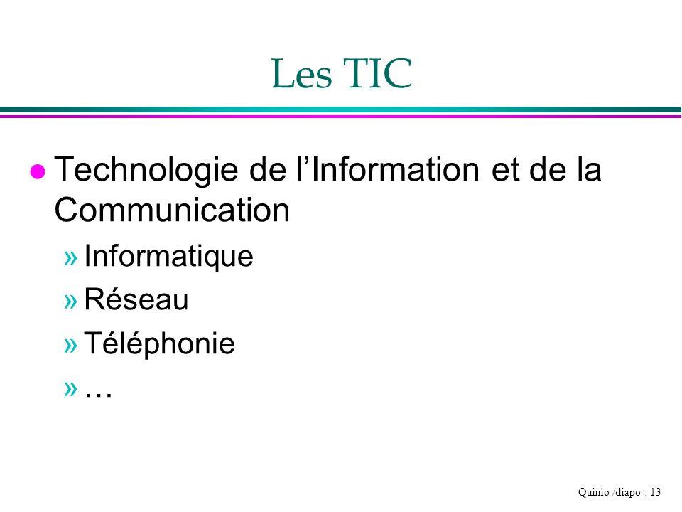 Quinio /diapo : 13 Les TIC l Technologie de lInformation et de la Communication »Informatique »Réseau »Téléphonie »…