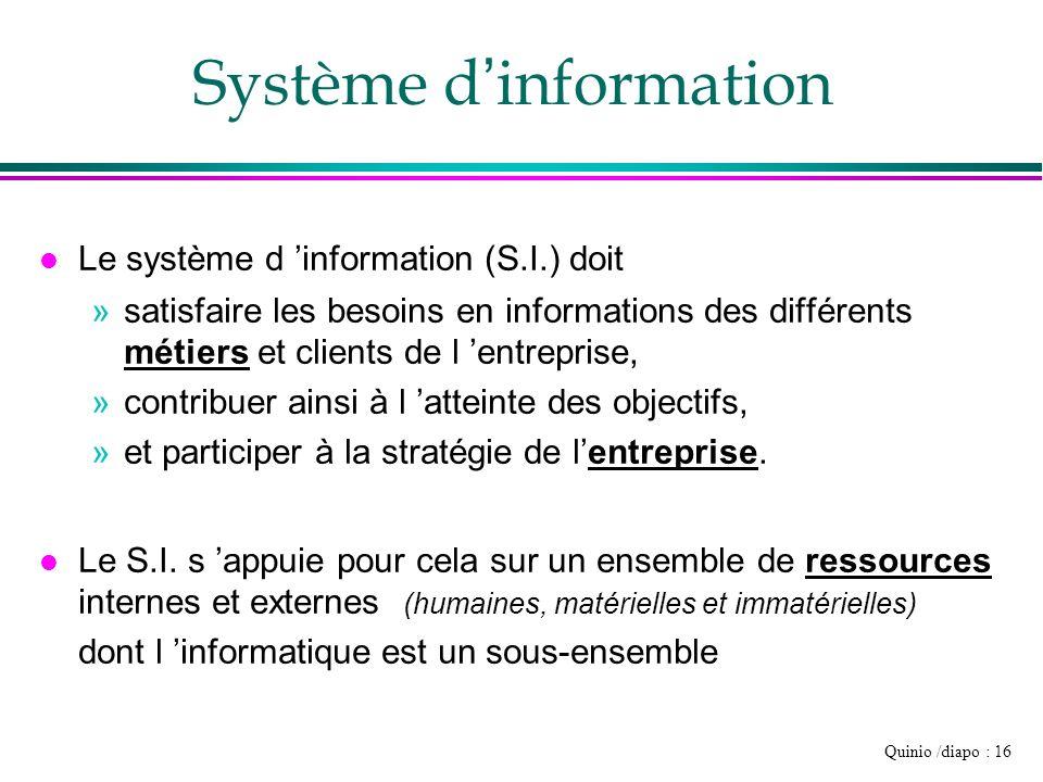 Quinio /diapo : 16 l Le système d information (S.I.) doit »satisfaire les besoins en informations des différents métiers et clients de l entreprise, »