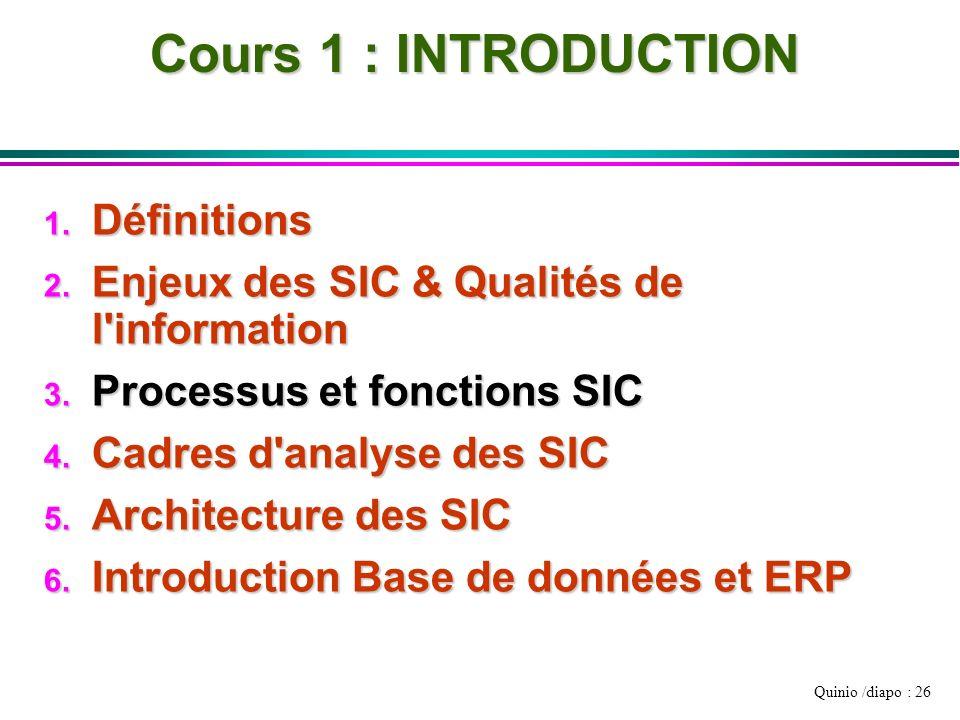 Quinio /diapo : 26 Cours 1 : INTRODUCTION 1. Définitions 2. Enjeux des SIC & Qualités de l'information 3. Processus et fonctions SIC 4. Cadres d'analy