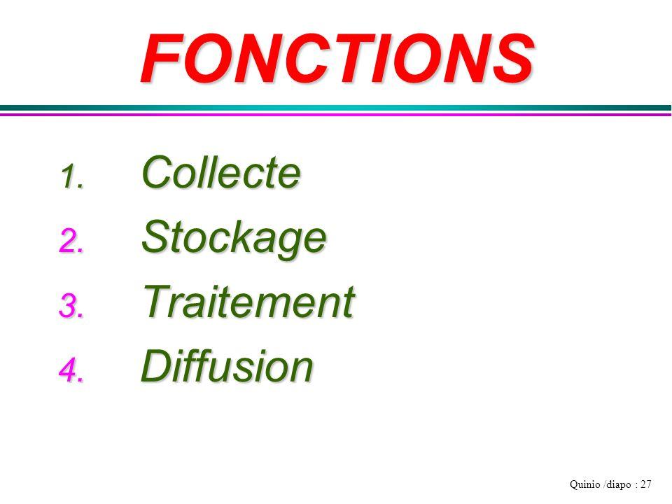 Quinio /diapo : 27 FONCTIONS 1. Collecte 2. Stockage 3. Traitement 4. Diffusion