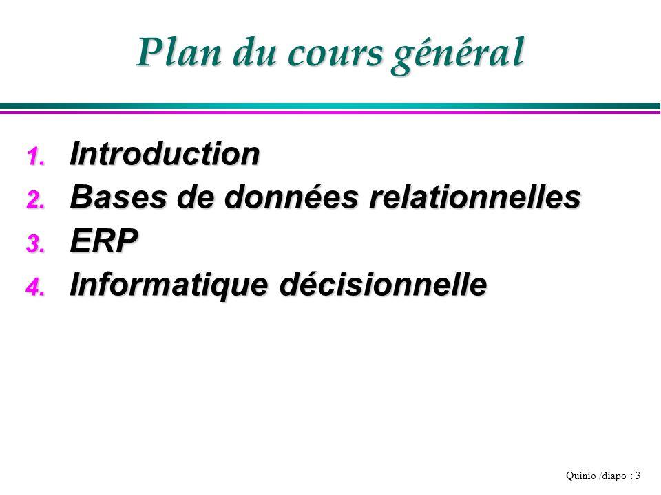 Quinio /diapo : 3 Plan du cours général 1. Introduction 2. Bases de données relationnelles 3. ERP 4. Informatique décisionnelle