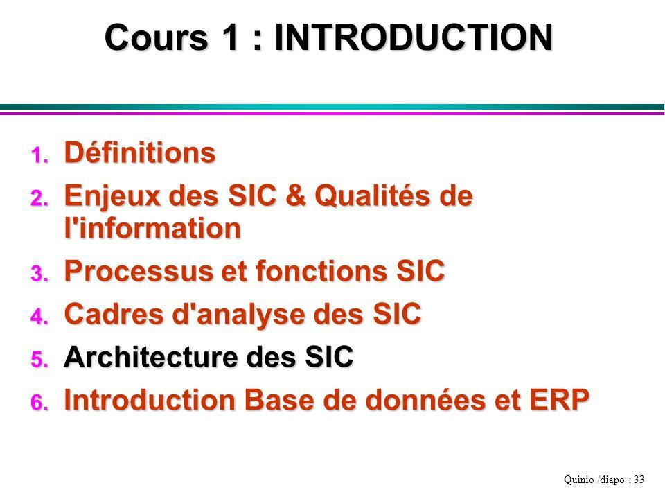 Quinio /diapo : 33 Cours 1 : INTRODUCTION 1. Définitions 2. Enjeux des SIC & Qualités de l'information 3. Processus et fonctions SIC 4. Cadres d'analy