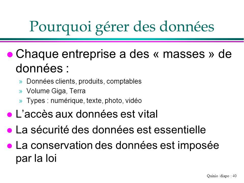 Quinio /diapo : 40 Pourquoi gérer des données l Chaque entreprise a des « masses » de données : »Données clients, produits, comptables »Volume Giga, T
