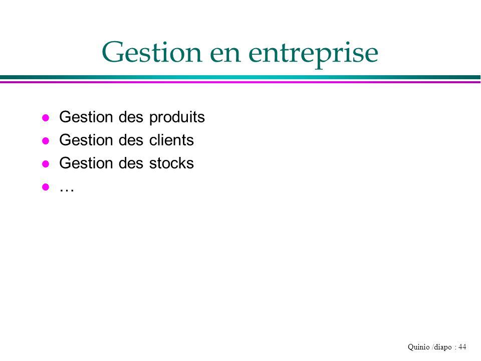 Quinio /diapo : 44 Gestion en entreprise l Gestion des produits l Gestion des clients l Gestion des stocks l …