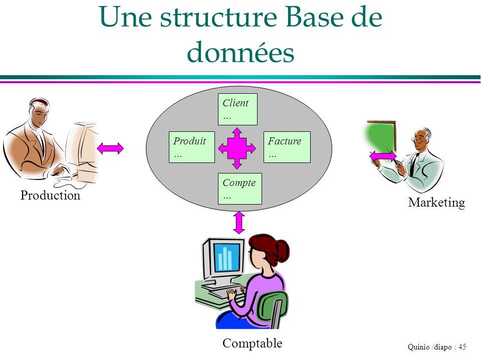 Quinio /diapo : 45 Une structure Base de données Production Comptable Marketing Produit … Facture … Compte … Client …