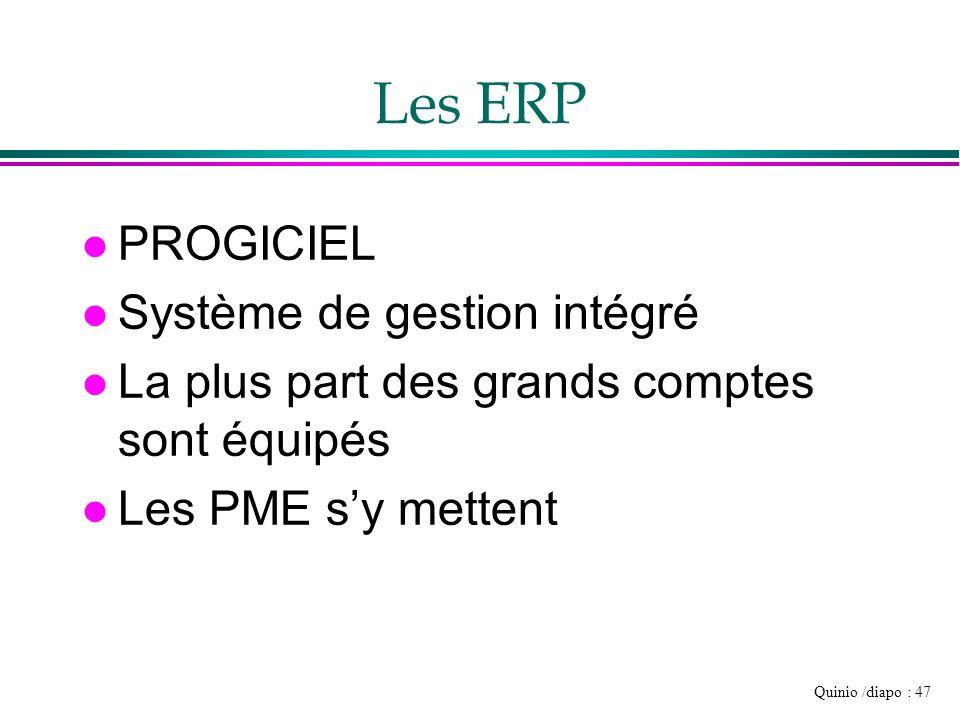 Quinio /diapo : 47 Les ERP l PROGICIEL l Système de gestion intégré l La plus part des grands comptes sont équipés l Les PME sy mettent