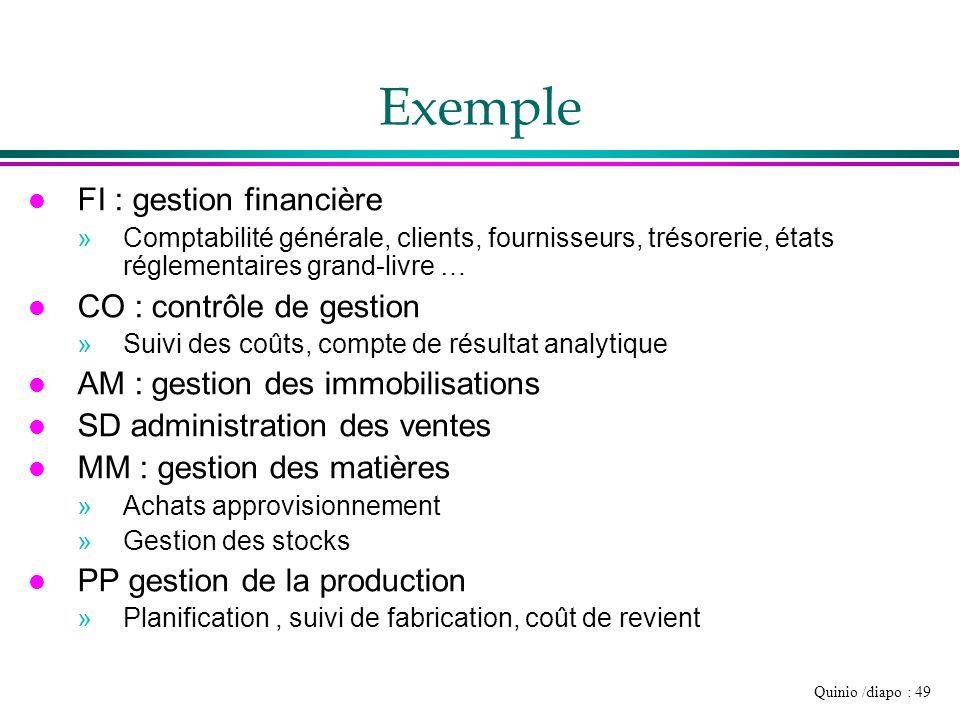 Quinio /diapo : 49 Exemple l FI : gestion financière »Comptabilité générale, clients, fournisseurs, trésorerie, états réglementaires grand-livre … l C