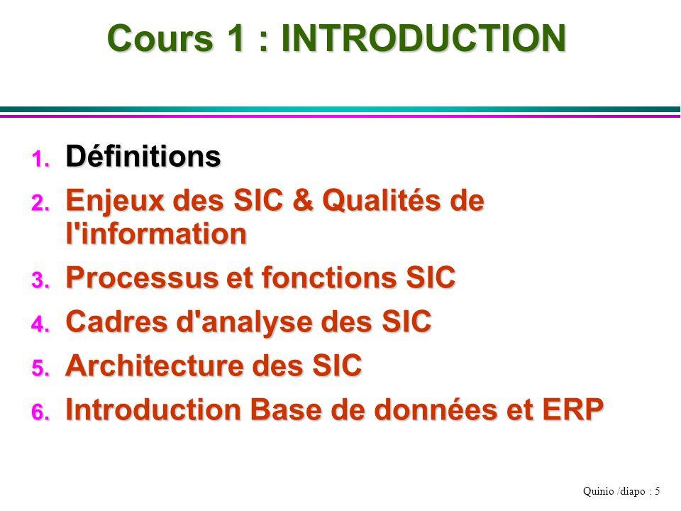 Quinio /diapo : 5 Cours 1 : INTRODUCTION 1. Définitions 2. Enjeux des SIC & Qualités de l'information 3. Processus et fonctions SIC 4. Cadres d'analys