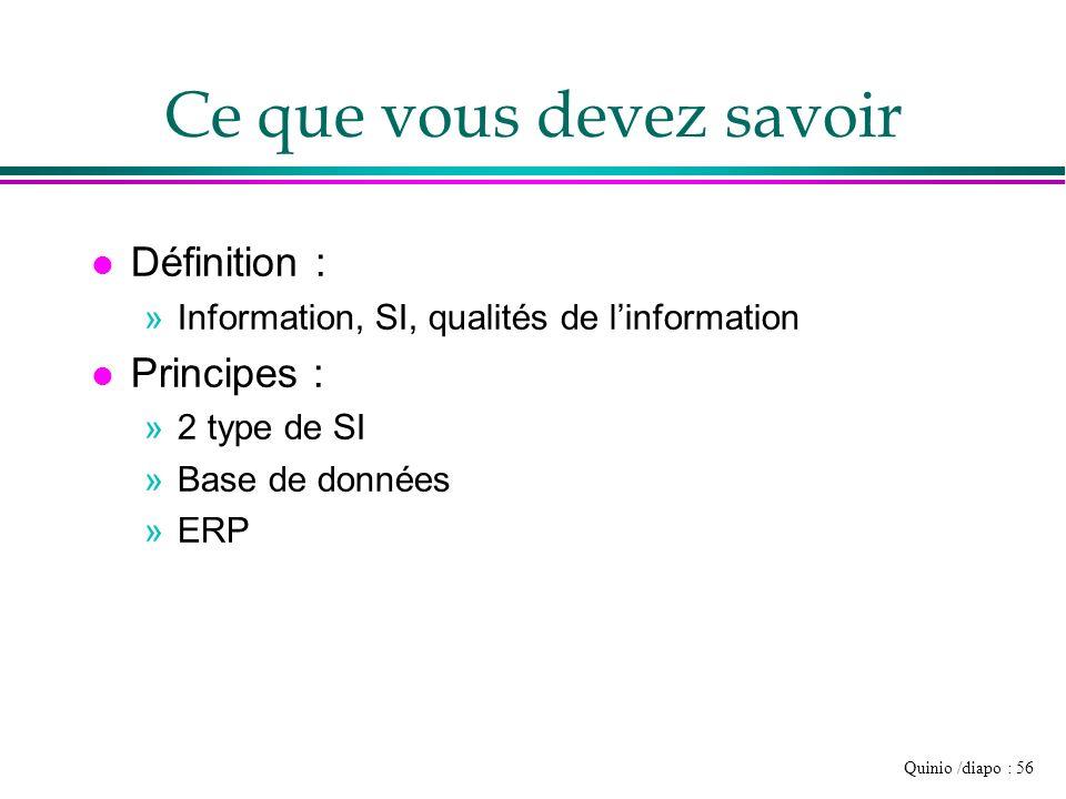 Quinio /diapo : 56 Ce que vous devez savoir l Définition : »Information, SI, qualités de linformation l Principes : »2 type de SI »Base de données »ER