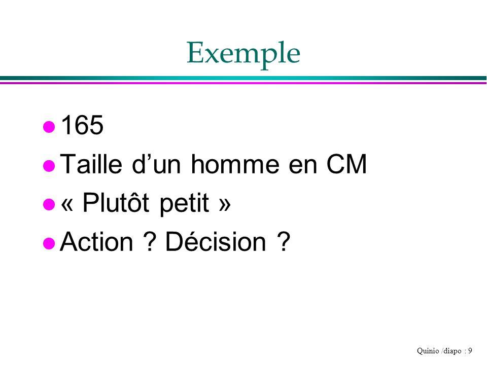 Quinio /diapo : 9 Exemple l 165 l Taille dun homme en CM l « Plutôt petit » l Action ? Décision ?