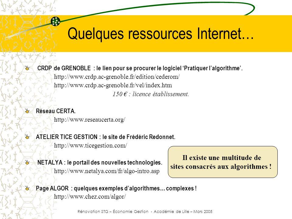 Quelques ressources Internet… CRDP de GRENOBLE : le lien pour se procurer le logiciel Pratiquer lalgorithme. http://www.crdp.ac-grenoble.fr/edition/ce
