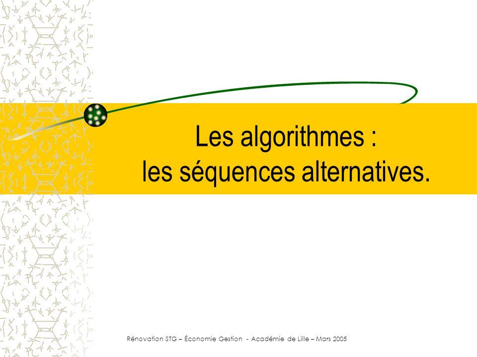 Algorithme … Début | … | Si TEST SUR DONNEE Alors | | VALEUR SI VRAI | Sinon | | VALEUR SI FAUX | FinSi | … | Fin La déclaration des données variables et constantes.
