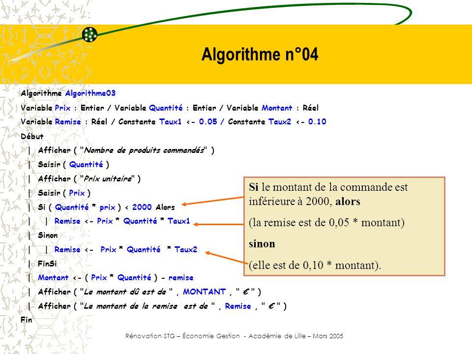 Algorithme n°04 Algorithme Algorithme03 Variable Prix : Entier / Variable Quantité : Entier / Variable Montant : Réel Variable Remise : Réel / Constan
