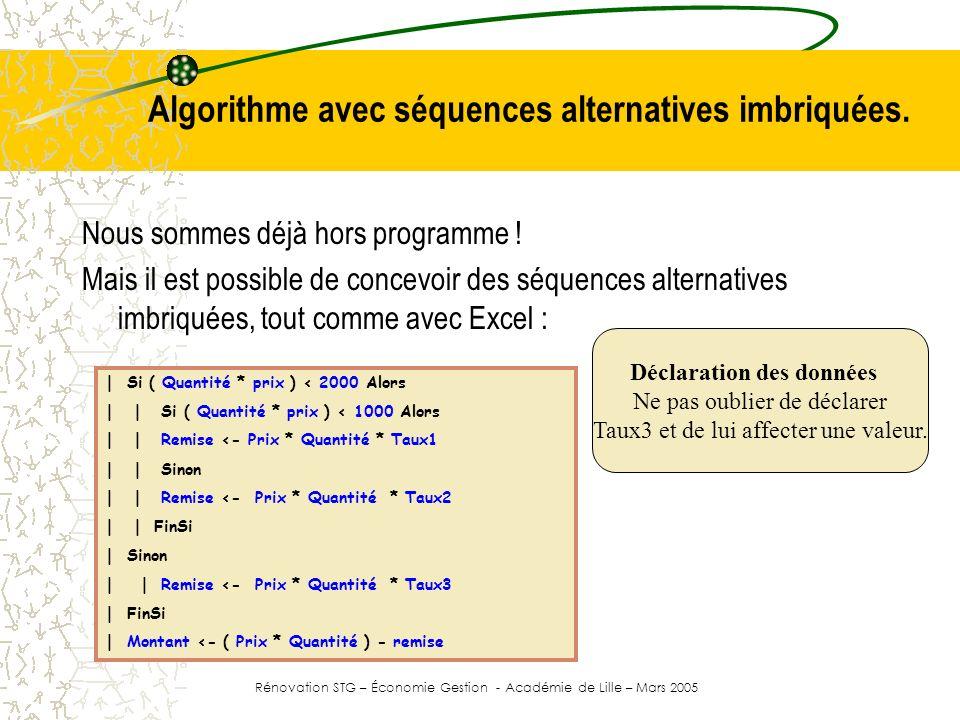 Algorithme avec séquences alternatives imbriquées. Nous sommes déjà hors programme ! Mais il est possible de concevoir des séquences alternatives imbr