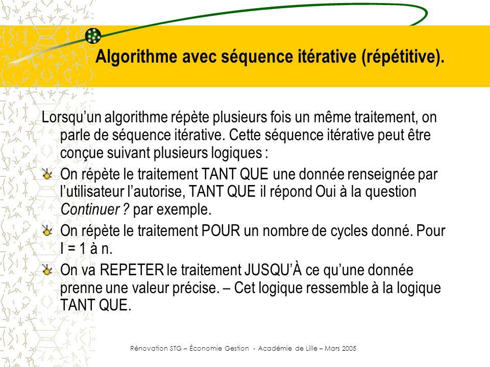 Structure Tant Que / Fin Tant Que Algorithme Algorithme08 … Début | Afficher ( Avez vous un traitement à effectuer ? ) | Saisir ( Reponse ) | TantQue Reponse = oui Faire | | Afficher ( Nombre de produits commandés ) | | Saisir ( Quant ) | | Afficher ( Prix unitaire ) | | Saisir ( Prix ) | | Montant <- ( Prix * Quant * (1 + TVA )) | | Afficher ( Le montant dû est de , MONTANT, TTC ) | | Afficher ( Avez vous un autre traitement à effectuer ? ) | | Saisir ( Reponse ) | FinTantQue Fin La déclaration des données Le traitement.