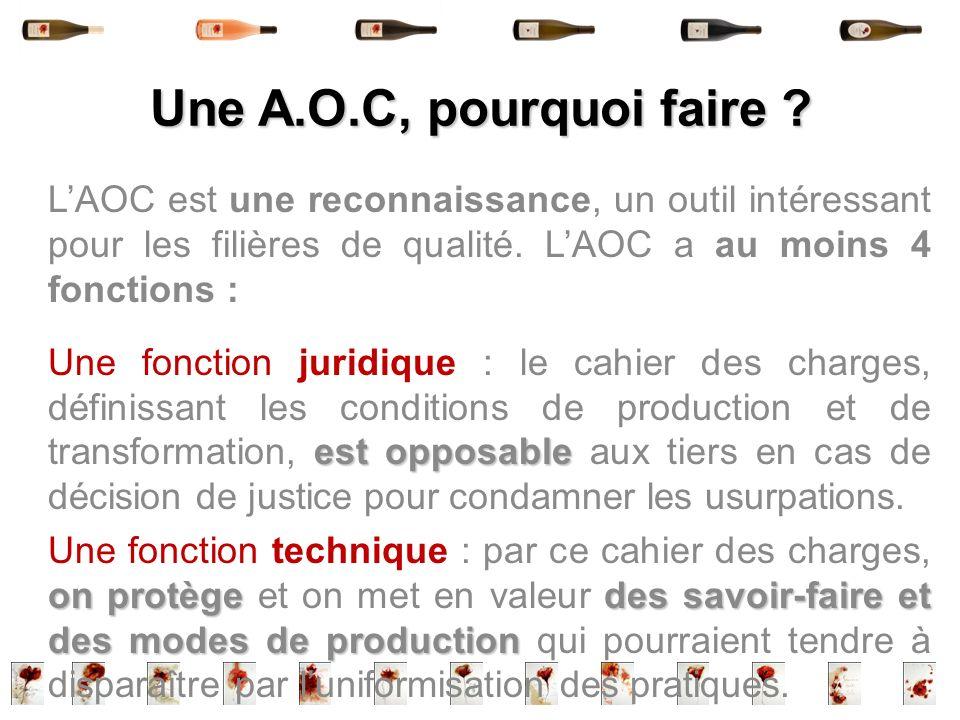 Une A.O.C, pourquoi faire ? LAOC est une reconnaissance, un outil intéressant pour les filières de qualité. LAOC a au moins 4 fonctions : est opposabl