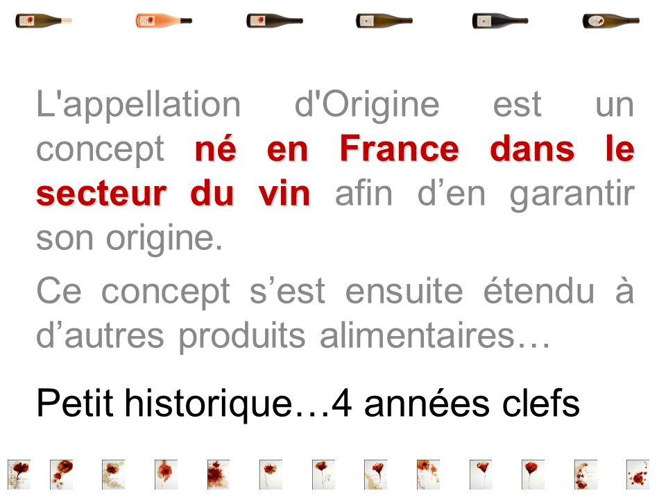 né en France dans le secteur du vin L'appellation d'Origine est un concept né en France dans le secteur du vin afin den garantir son origine. Ce conce