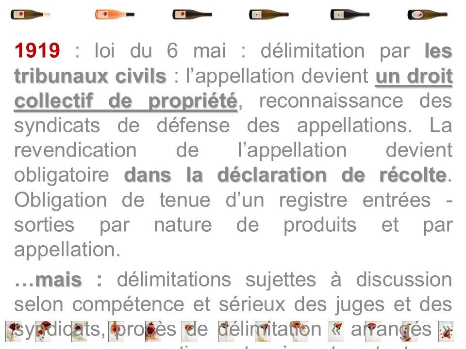 les tribunaux civilsun droit collectif de propriété dans la déclaration de récolte 1919 : loi du 6 mai : délimitation par les tribunaux civils : lappe