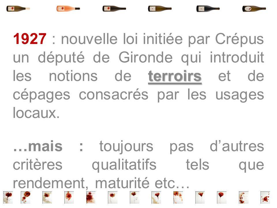 terroirs 1927 : nouvelle loi initiée par Crépus un député de Gironde qui introduit les notions de terroirs et de cépages consacrés par les usages loca