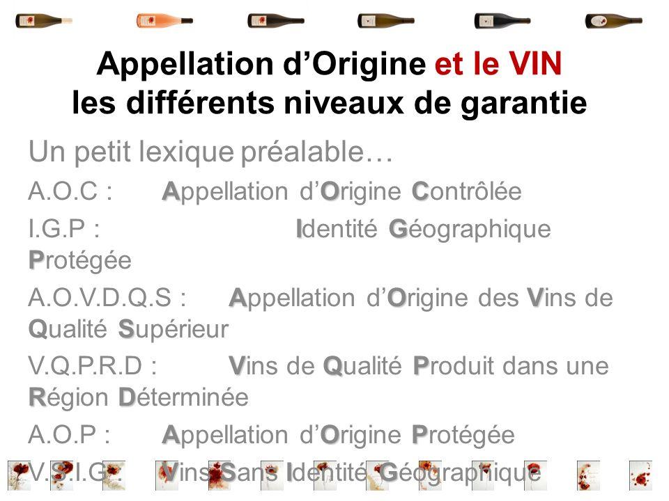 Appellation dOrigine et le VIN les différents niveaux de garantie Un petit lexique préalable… AOC A.O.C : Appellation dOrigine Contrôlée IG P I.G.P :