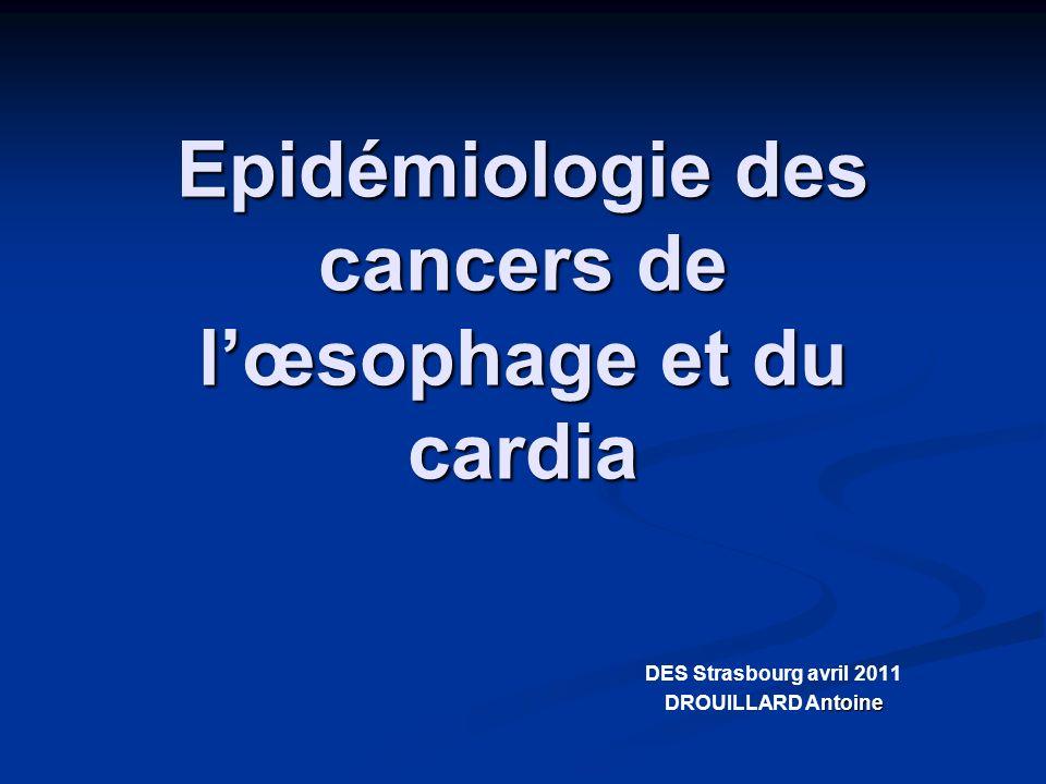 Conclusion Lincidence des cancers de lœsophage diminue Lincidence des cancers de lœsophage diminue Il existe une grande disparité géographique et selon le sexe Il existe une grande disparité géographique et selon le sexe On constate une forte augmentation de ladénocarcinome de lœsophage et une diminution du carcinome épidermoïde On constate une forte augmentation de ladénocarcinome de lœsophage et une diminution du carcinome épidermoïde Le pronostic reste mauvais (survie à 5 ans <10%).