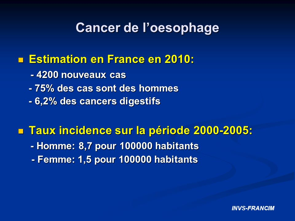 Cancer de loesophage Estimation en France en 2010: Estimation en France en 2010: - 4200 nouveaux cas - 4200 nouveaux cas - 75% des cas sont des hommes