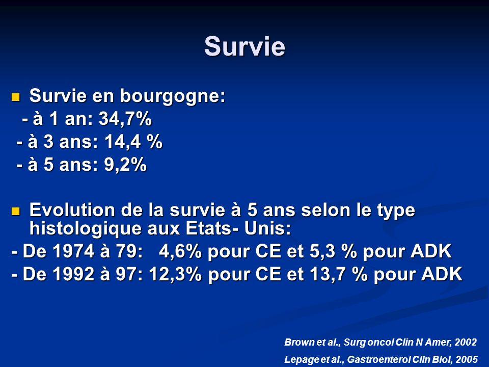 Survie Survie en bourgogne: Survie en bourgogne: - à 1 an: 34,7% - à 1 an: 34,7% - à 3 ans: 14,4 % - à 3 ans: 14,4 % - à 5 ans: 9,2% - à 5 ans: 9,2% E
