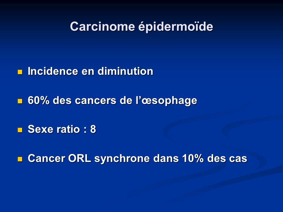 Carcinome épidermoïde Facteurs de risque Facteurs de risque - Alcool - Tabac => Potentialisation => Potentialisation Facteurs protecteurs - Fruits - Légumes Launoy et al., British Journal of Cancer, 1997