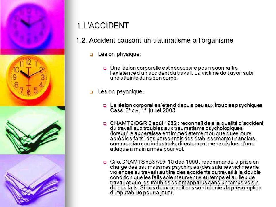 2.UN ACCIDENT EN LIEN AVEC LACTIVITE PROFESSIONNELLE Selon l article L.