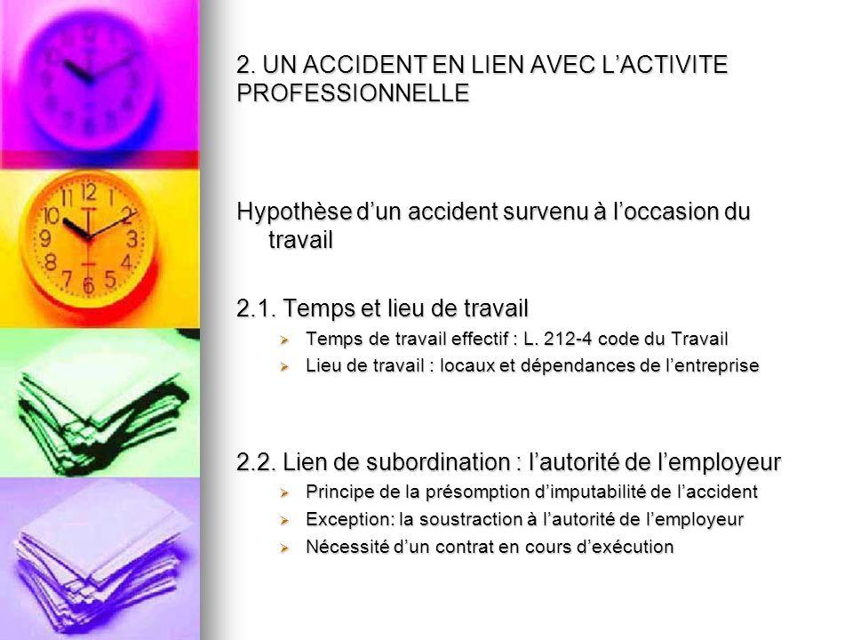 2. UN ACCIDENT EN LIEN AVEC LACTIVITE PROFESSIONNELLE Hypothèse dun accident survenu à loccasion du travail 2.1. Temps et lieu de travail Temps de tra