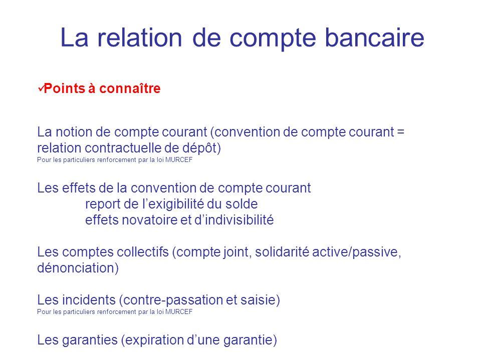 La relation de compte bancaire Points à connaître La notion de compte courant (convention de compte courant = relation contractuelle de dépôt) Pour le