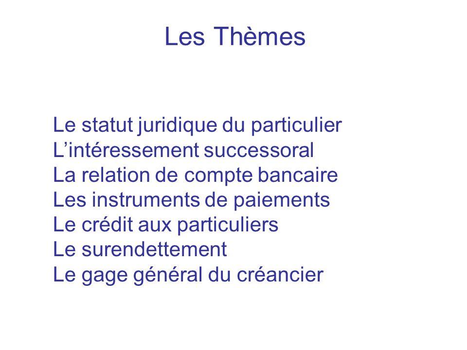Les Thèmes Le statut juridique du particulier Lintéressement successoral La relation de compte bancaire Les instruments de paiements Le crédit aux par