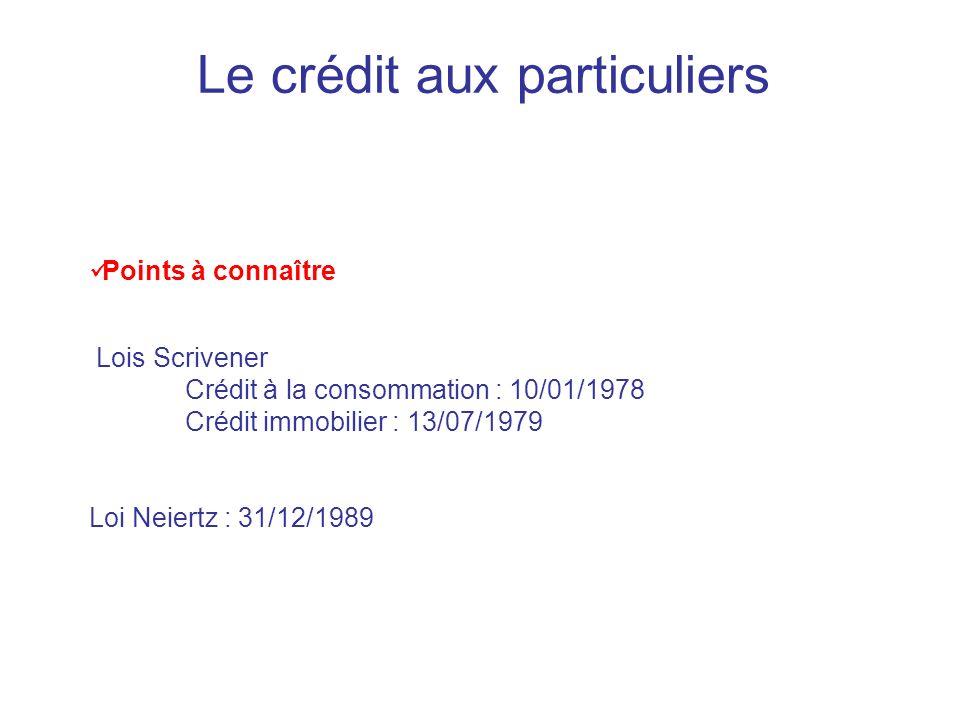 Le crédit aux particuliers Points à connaître Lois Scrivener Crédit à la consommation : 10/01/1978 Crédit immobilier : 13/07/1979 Loi Neiertz : 31/12/1989