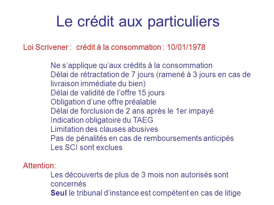 Le crédit aux particuliers Loi Scrivener : crédit à la consommation : 10/01/1978 Ne sapplique quaux crédits à la consommation Délai de rétractation de