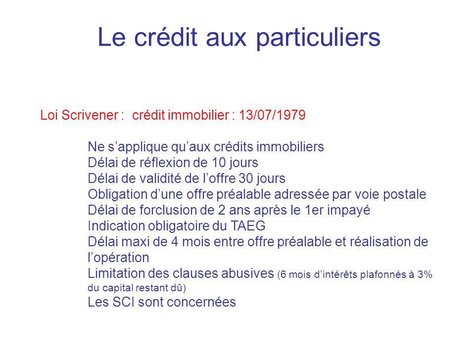 Le crédit aux particuliers Loi Scrivener : crédit immobilier : 13/07/1979 Ne sapplique quaux crédits immobiliers Délai de réflexion de 10 jours Délai