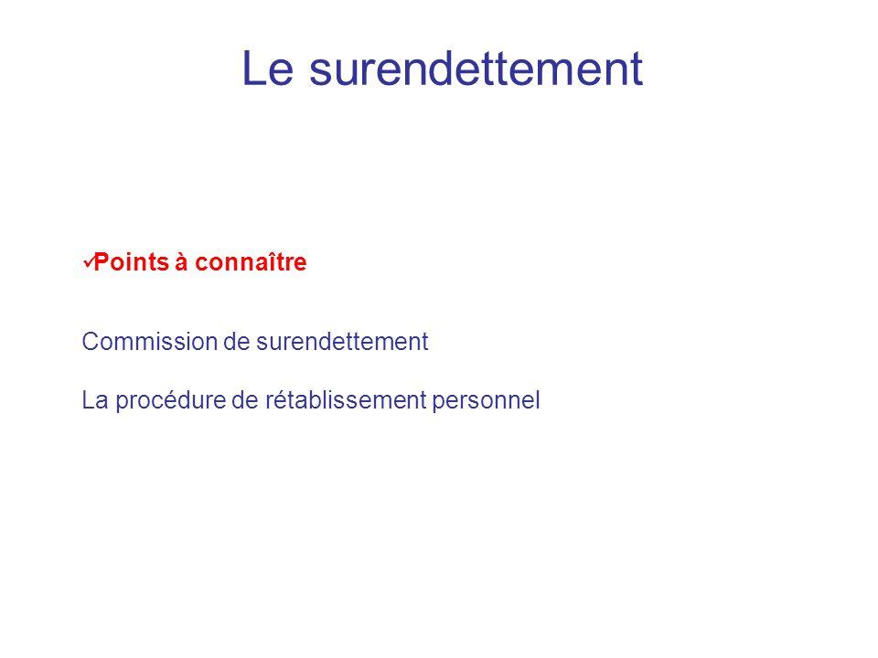 Le surendettement Points à connaître Commission de surendettement La procédure de rétablissement personnel