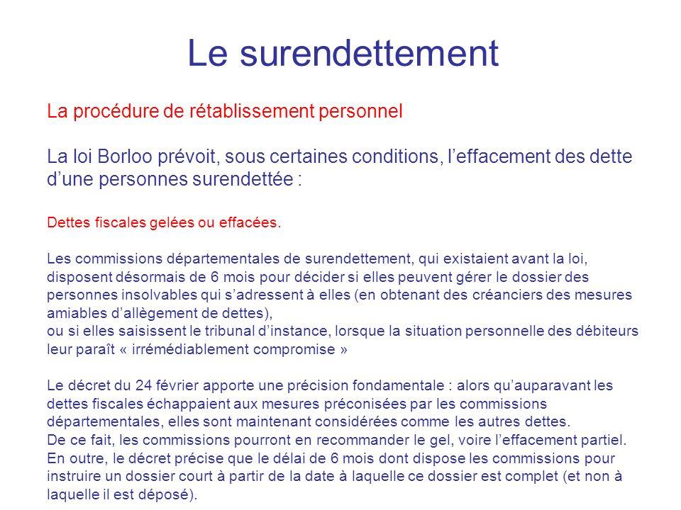 Le surendettement La procédure de rétablissement personnel La loi Borloo prévoit, sous certaines conditions, leffacement des dette dune personnes sure