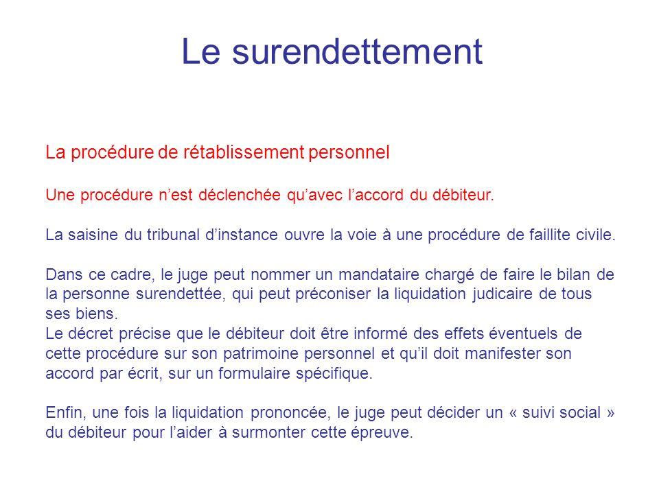 Le surendettement La procédure de rétablissement personnel Une procédure nest déclenchée quavec laccord du débiteur.