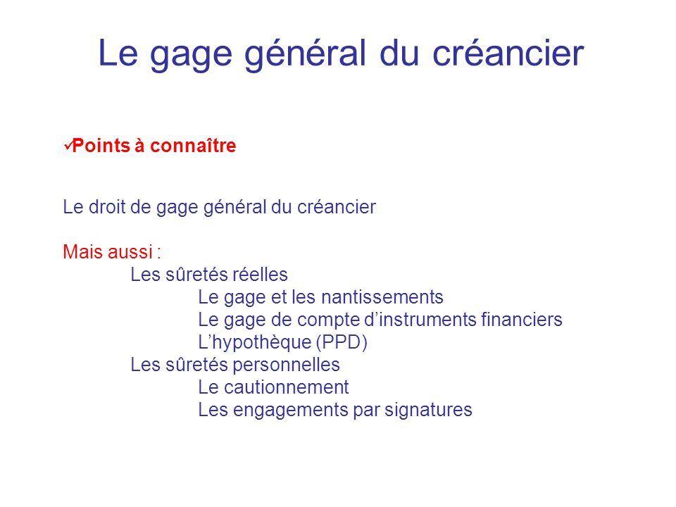 Le gage général du créancier Points à connaître Le droit de gage général du créancier Mais aussi : Les sûretés réelles Le gage et les nantissements Le