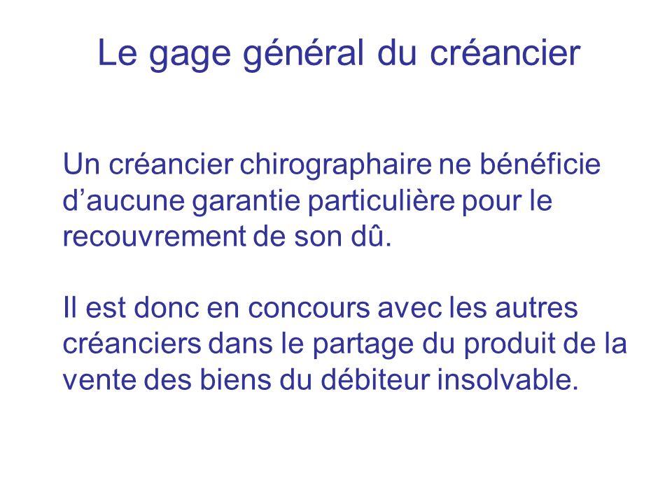 Le gage général du créancier Un créancier chirographaire ne bénéficie daucune garantie particulière pour le recouvrement de son dû. Il est donc en con