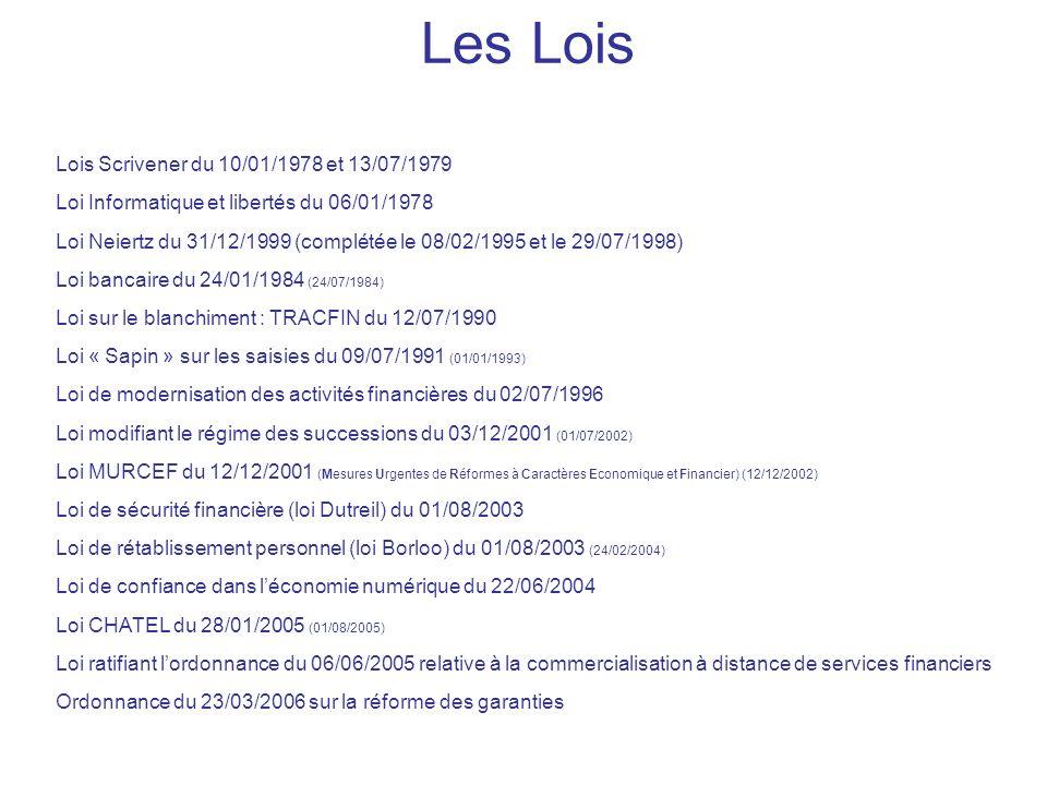 Les Lois Lois Scrivener du 10/01/1978 et 13/07/1979 Loi Informatique et libertés du 06/01/1978 Loi Neiertz du 31/12/1999 (complétée le 08/02/1995 et le 29/07/1998) Loi bancaire du 24/01/1984 (24/07/1984) Loi sur le blanchiment : TRACFIN du 12/07/1990 Loi « Sapin » sur les saisies du 09/07/1991 (01/01/1993) Loi de modernisation des activités financières du 02/07/1996 Loi modifiant le régime des successions du 03/12/2001 (01/07/2002) Loi MURCEF du 12/12/2001 (Mesures Urgentes de Réformes à Caractères Economique et Financier) (12/12/2002) Loi de sécurité financière (loi Dutreil) du 01/08/2003 Loi de rétablissement personnel (loi Borloo) du 01/08/2003 (24/02/2004) Loi de confiance dans léconomie numérique du 22/06/2004 Loi CHATEL du 28/01/2005 (01/08/2005) Loi ratifiant lordonnance du 06/06/2005 relative à la commercialisation à distance de services financiers Ordonnance du 23/03/2006 sur la réforme des garanties