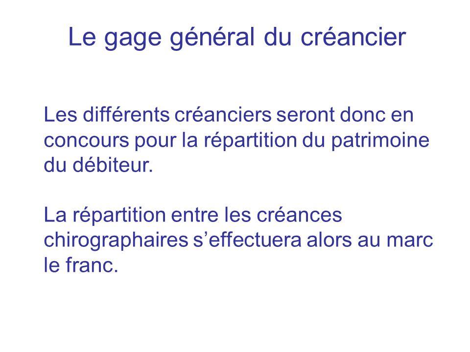 Le gage général du créancier Les différents créanciers seront donc en concours pour la répartition du patrimoine du débiteur. La répartition entre les