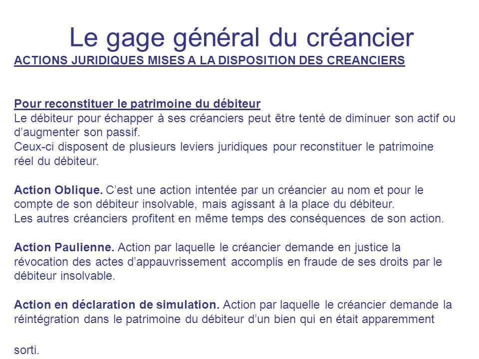 Le gage général du créancier ACTIONS JURIDIQUES MISES A LA DISPOSITION DES CREANCIERS Pour reconstituer le patrimoine du débiteur Le débiteur pour éch