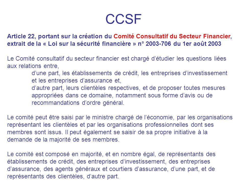 CCSF Article 22, portant sur la création du Comité Consultatif du Secteur Financier, extrait de la « Loi sur la sécurité financière » n° 2003-706 du 1