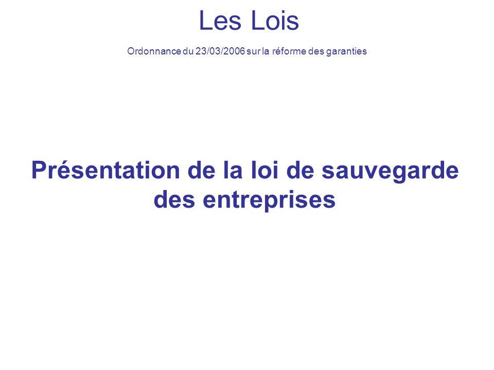 Présentation de la loi de sauvegarde des entreprises Les Lois Ordonnance du 23/03/2006 sur la réforme des garanties