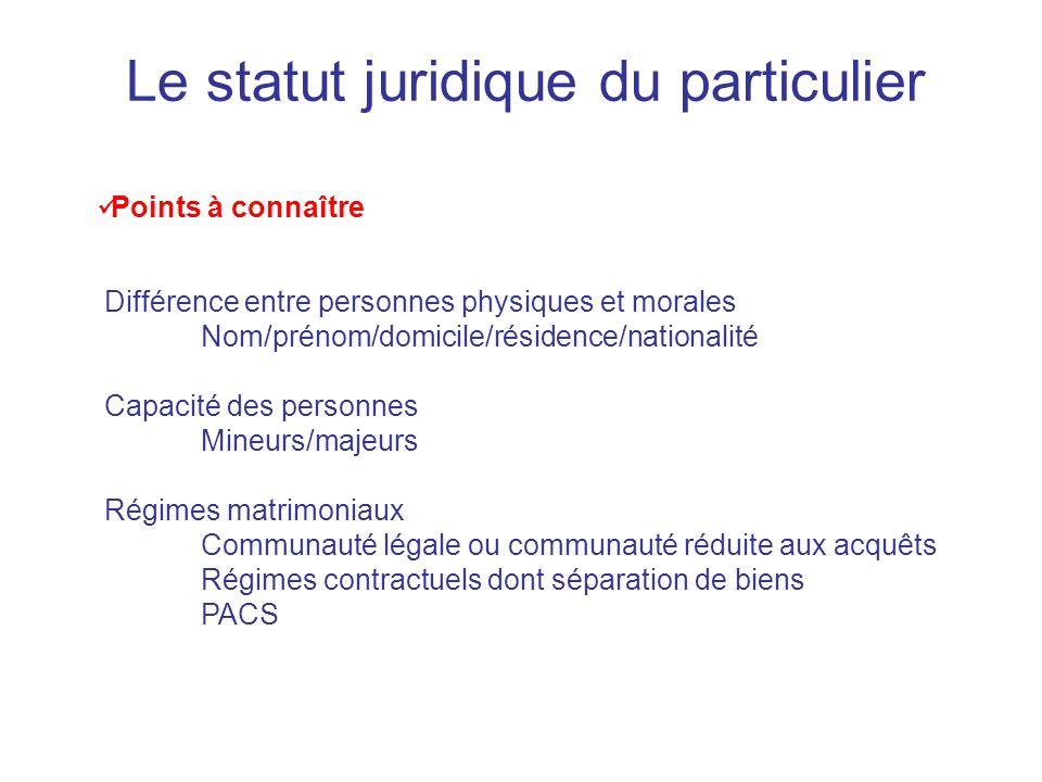 Le statut juridique du particulier Points à connaître Différence entre personnes physiques et morales Nom/prénom/domicile/résidence/nationalité Capaci