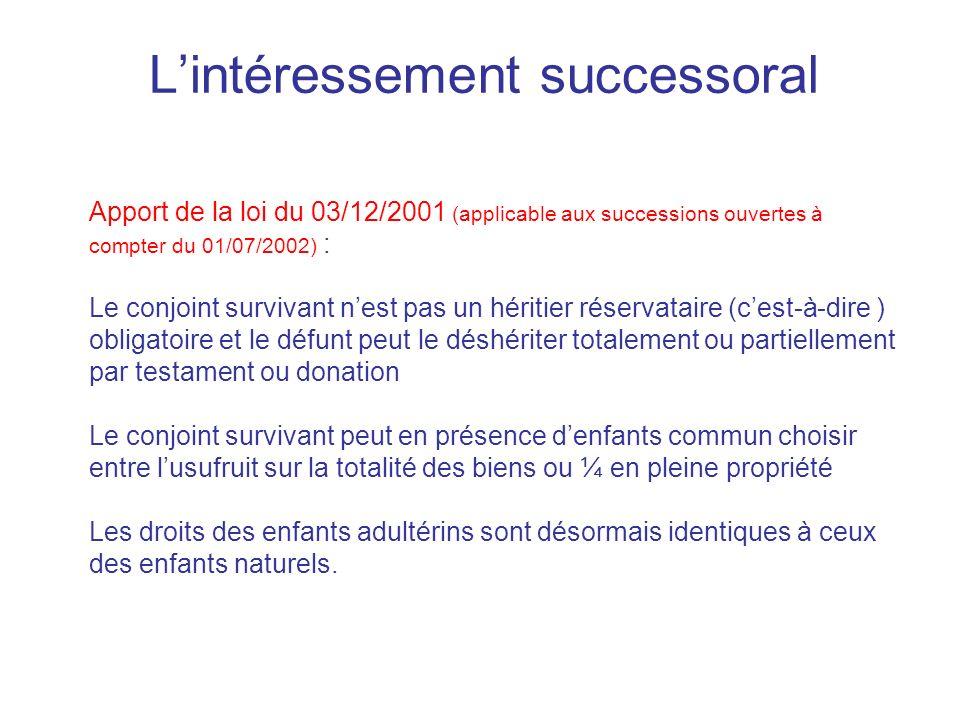 Lintéressement successoral Apport de la loi du 03/12/2001 (applicable aux successions ouvertes à compter du 01/07/2002) : Le conjoint survivant nest p